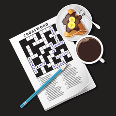 illustration of crossword game, mug of coffee and crepe