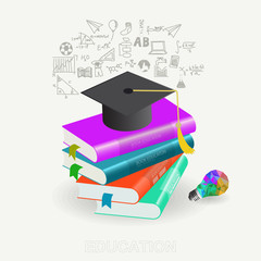 Graduation concept with books step