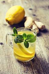 tea with lemon, mint, ginger
