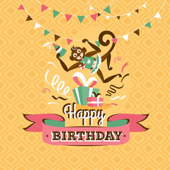 Vintage birthday greeting card with a monkey vector illustration