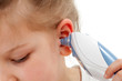 Taking temperature with ear thermometer