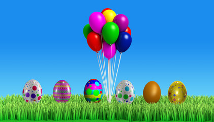3d Colorfull easter egg with backgroung