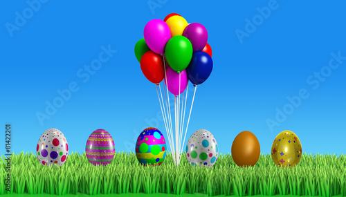 Leinwandbild Motiv 3d Colorfull easter egg with backgroung