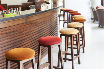 beautiful and colorful luxury  round wooden chairs, furniture