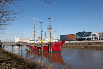 Historic sailing ship on the Weser river in Bremen, Germany