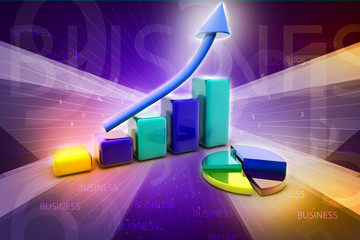 Business graph and pie chart with business concept
