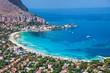 Leinwanddruck Bild - Panoramic view of Mondello white beach in Palermo, Sicily.