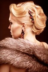 Blonde woman in fur