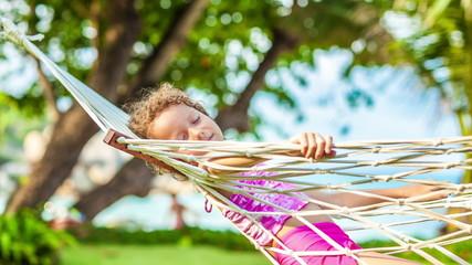 Little girl on hammock