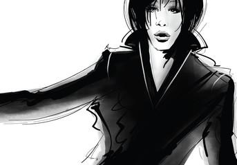 Portrait of a woman in black dress