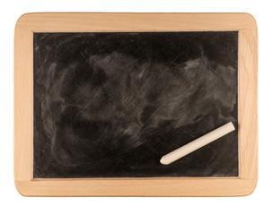 rectangular chalkboard with chalk isolated on white background