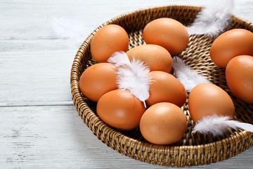 Eggs in a wicker tray