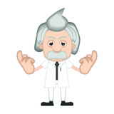 Funny Albert Einstein Cartoon Illustration Comic poster