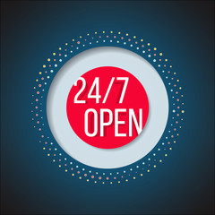 Open 247 sign. Full time service store icon. Online support