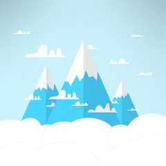 Mountains in the clouds in a modern simple light design. Vector