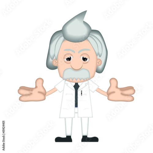 poster of Funny Albert Einstein Cartoon Illustration Comic