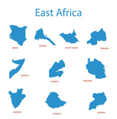 east africa - vector maps of territories