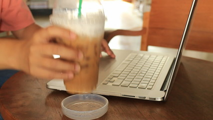 Freelance Working With Laptop At Espresso Shop, stock footage
