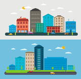 Flat design urban landscape, composition city scene poster