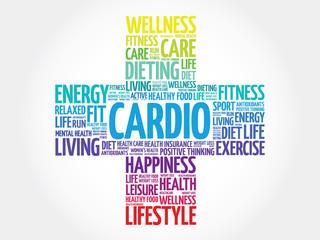 CARDIO word cloud, health cross concept