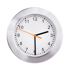 Round clock shows half of the third