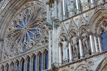 Elements of Nidaros Cathedral in Trondheim, Norway