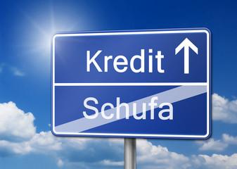Kredit Schufa Bonität Schild