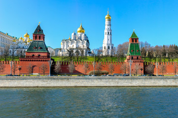Kremlin Palace, Ivan the Great Bell Tower, Moscow river.