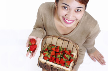 Healthy Lady And Strawberry