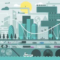 Future city in cold colors