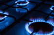 canvas print picture - Blue flames of gas burning from a kitchen gas stove