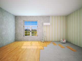 Interior during repair work 3D rendering