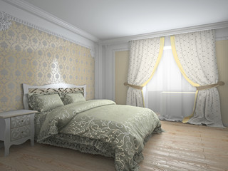 Classic interior in warm tones 3d rendering