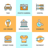 Fototapety City travel elements line icons set