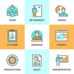 Company management line icons set
