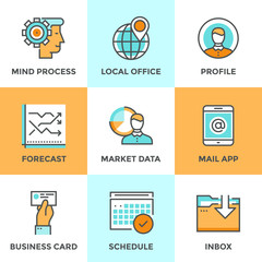 Business workflow line icons set