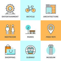 City public objects line icons set