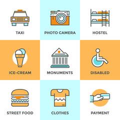 City travel elements line icons set