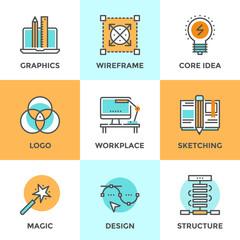 Design development line icons set