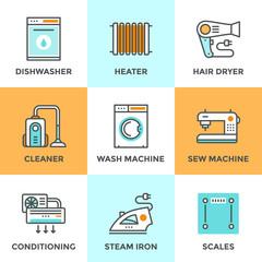 Home appliances line icons set