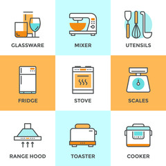 Kitchen appliances line icons set