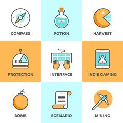 Indie gaming elements line icons set