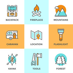 Outdoor adventure line icons set