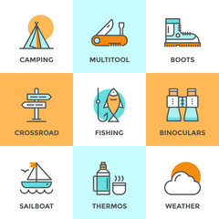 Recreation camping line icons set