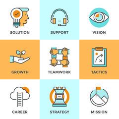Success business metaphors line icons set