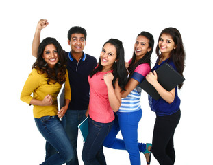 Young Indian/Asian group isolated on white background.