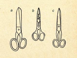 Scissors: cutters (a), buttonhole (b), standard (c)