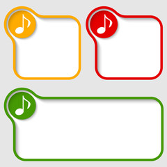 Set abstract text frames with music icon