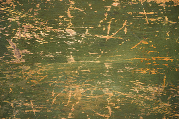 Old green cracked wood background, wooden surface, copy space