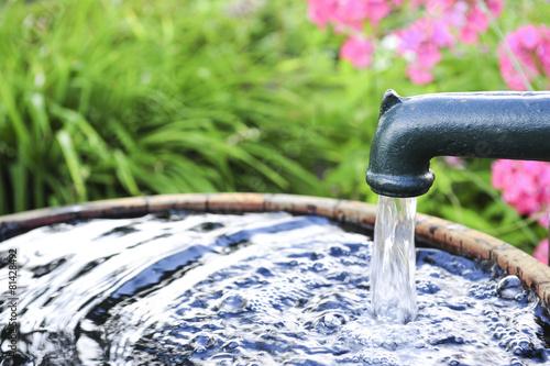 Leinwanddruck Bild Wasserpumpe im Garten